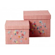 Square Raffia Box with Embroidered Flowers - Set of 2 (Pink)